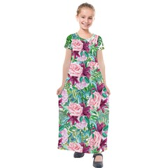 Forest Green Elegant Roses Print Kids  Short Sleeve Maxi Dress   by PattyVilleDesigns