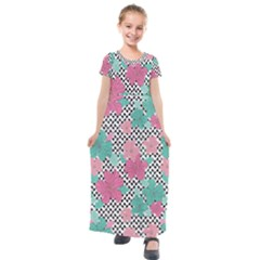 Black & White Checkered Prints & Floral Kids  Short Sleeve Maxi Dress