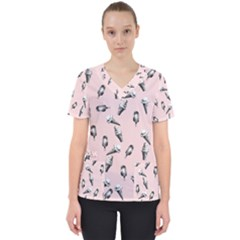 Ice Cream Pattern Women s V-neck Scrub Top