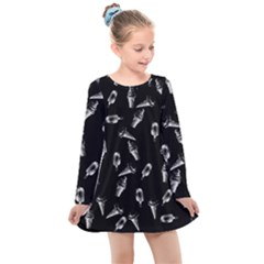 Ice Cream Pattern Kids  Long Sleeve Dress by Valentinaart