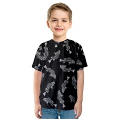 Vintage Fish Skeleton Pattern  Kids  Sport Mesh Tee
