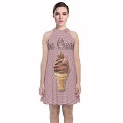 Pop Art Ice Cream Velvet Halter Neckline Dress