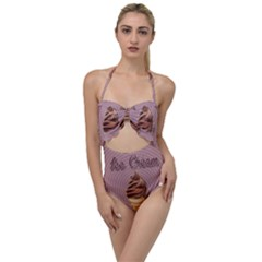 Pop Art Ice Cream Scallop Top Cut Out Swimsuit