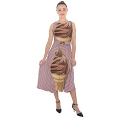 Pop Art Ice Cream Midi Tie Back Chiffon Dress