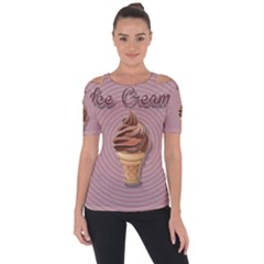 Pop Art Ice Cream Shoulder Cut Out Short Sleeve Top