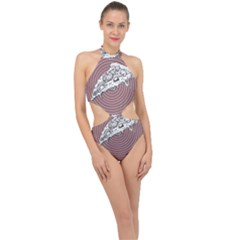 Pop Art Pizza Halter Side Cut Swimsuit