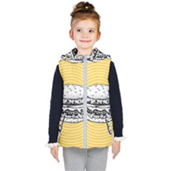 Pop Art Hamburger  Kid s Hooded Puffer Vest