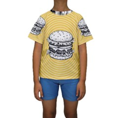 Pop Art Hamburger  Kids  Short Sleeve Swimwear by Valentinaart