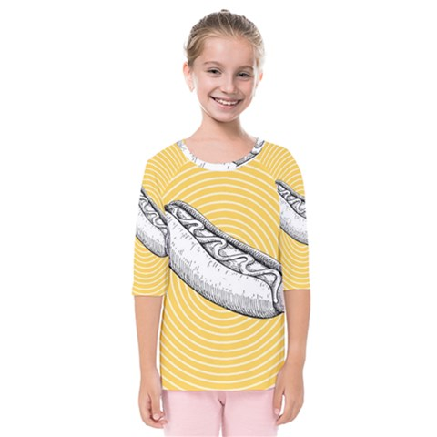 Pop Art Hot Dog Kids  Quarter Sleeve Raglan Tee by Valentinaart