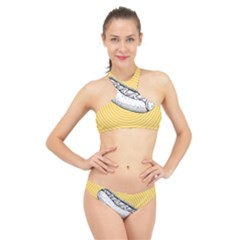 Pop Art Hot Dog High Neck Bikini Set