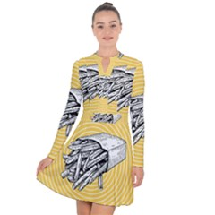 Pop Art French Fries Long Sleeve Panel Dress