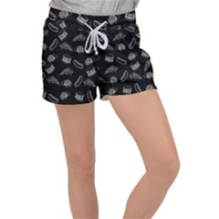 Fast Food Pattern Women s Velour Lounge Shorts