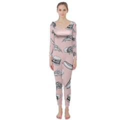 Fast Food Pattern Long Sleeve Catsuit