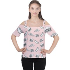 Fast Food Pattern Cutout Shoulder Tee