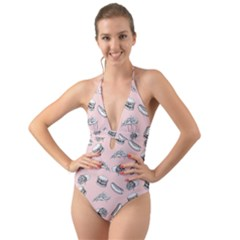 Fast Food Pattern Halter Cut Out One Piece Swimsuit