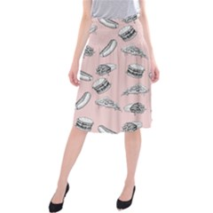 Fast Food Pattern Midi Beach Skirt