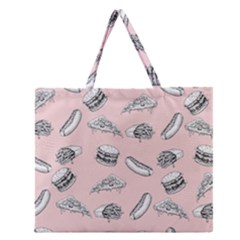 Fast Food Pattern Zipper Large Tote Bag