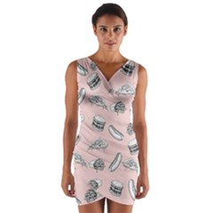 Fast Food Pattern Wrap Front Bodycon Dress