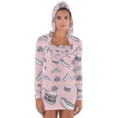 Fast Food Pattern Long Sleeve Hooded T Shirt