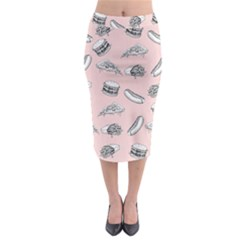 Fast Food Pattern Midi Pencil Skirt