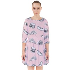 Fast Food Pattern Smock Dress