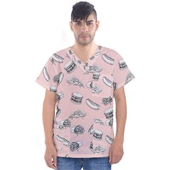 Fast Food Pattern Men s V Neck Scrub Top