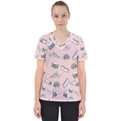 Fast Food Pattern Women s V Neck Scrub Top