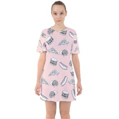 Fast Food Pattern Sixties Short Sleeve Mini Dress