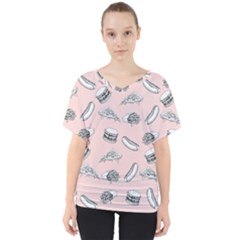 Fast Food Pattern V Neck Dolman Drape Top
