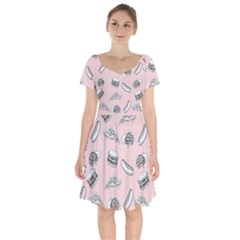 Fast Food Pattern Short Sleeve Bardot Dress