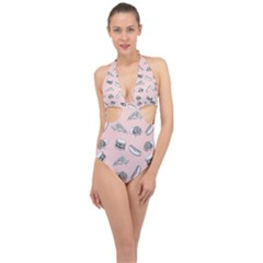 Fast Food Pattern Halter Front Plunge Swimsuit