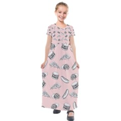 Fast Food Pattern Kids  Short Sleeve Maxi Dress