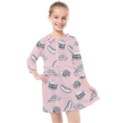 Fast Food Pattern Kids  Quarter Sleeve Shirt Dress