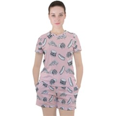 Fast Food Pattern Women s Tee And Shorts Set