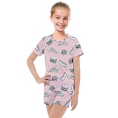 Fast Food Pattern Kids  Mesh Tee And Shorts Set