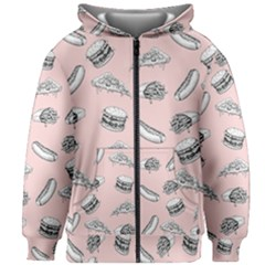 Fast Food Pattern Kids Zipper Hoodie Without Drawstring