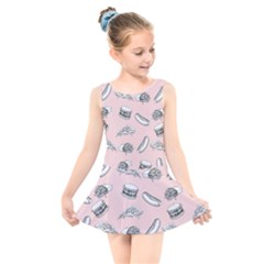 Fast Food Pattern Kids  Skater Dress Swimsuit
