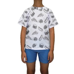 Fast Food Pattern Kids  Short Sleeve Swimwear