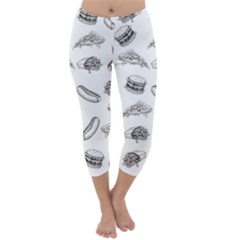 Fast Food Pattern Capri Winter Leggings