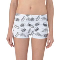 Fast Food Pattern Reversible Boyleg Bikini Bottoms