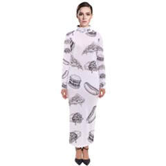 Fast Food Pattern Turtleneck Maxi Dress