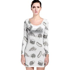 Fast Food Pattern Long Sleeve Velvet Bodycon Dress