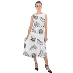 Fast Food Pattern Midi Tie Back Chiffon Dress