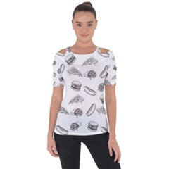Fast Food Pattern Shoulder Cut Out Short Sleeve Top
