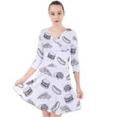Fast Food Pattern Quarter Sleeve Front Wrap Dress