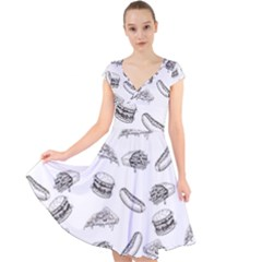 Fast Food Pattern Cap Sleeve Front Wrap Midi Dress