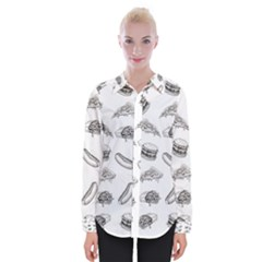 Fast Food Pattern Womens Long Sleeve Shirt