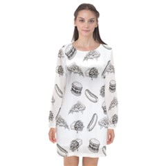 Fast Food Pattern Long Sleeve Chiffon Shift Dress