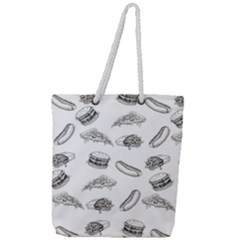 Fast Food Pattern Full Print Rope Handle Tote (large)