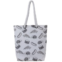 Fast Food Pattern Full Print Rope Handle Tote (small)